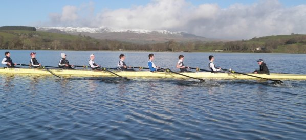 Senior VIII training on Lake Bala, February 2014