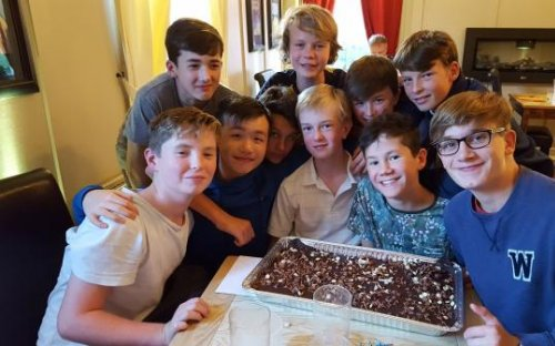 The Third Form celebrating Huw's birthday and the end of a successful first week at Shrewsbury School, September 2017