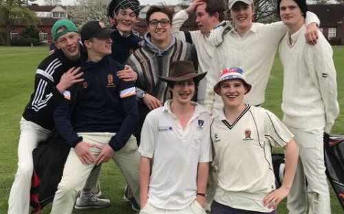 Oldham's 1st Leagues cricketers after winning the first match of the season. Oldham's has won this competition for the past two years.