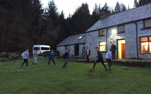 Pre-pizza football at Talagerwyn, the School bunkhouse in Snowdonia