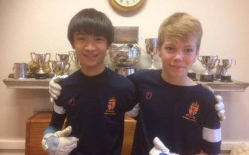 Richie Li and Marcus Young, winners of the U14 House Fives B pair Competition, March 2017