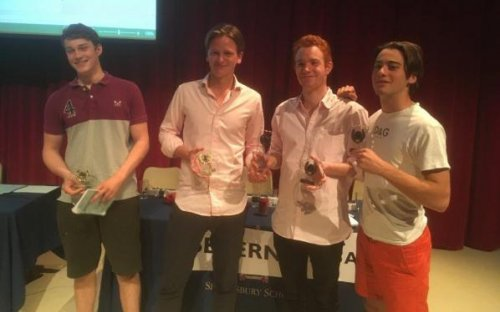 Severn Hill are triumphant in the Senior Debating Competition, May 2017. L-R: Adam Pattenden, Max Morris, Ed Plaut, Angus Moore
