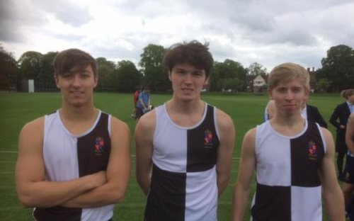 Oldham's finalists L-R: Tom Drury (LVI, Sidney-Darwin Dash, 12.08s), Angus Drummond (UVI, winner Sidney-Darwin Dash, 11.10s), Reuben Arkwright (2nd Quarter-Mile, 54.08s), May 2017