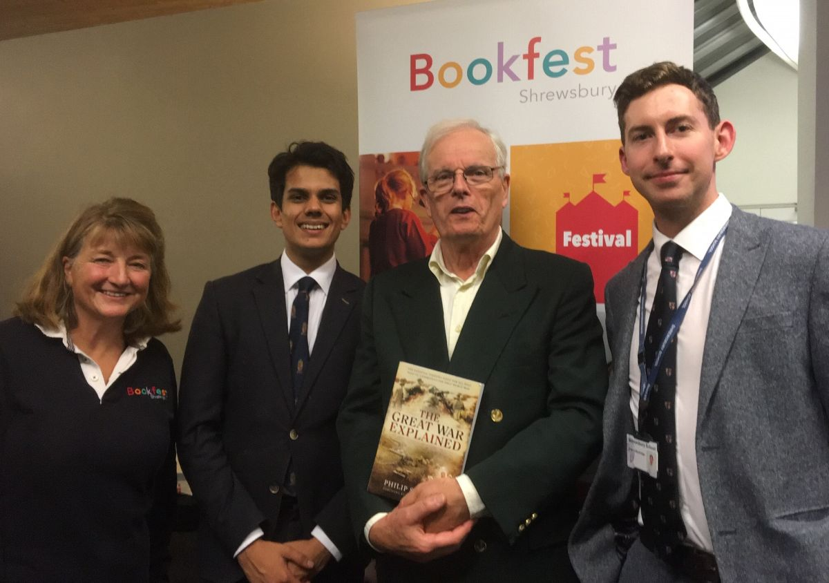 L-R: Lucy Morris (Shrewsbury Bookfest), Ebrahim Jamshid, Philip Stevens, Harry Mackridge (Head of History)