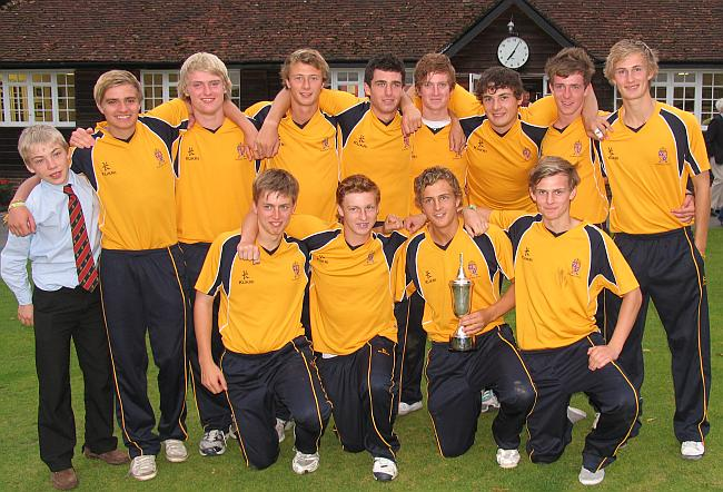 An exhausted 1st XI after winning the HMC T20 championships