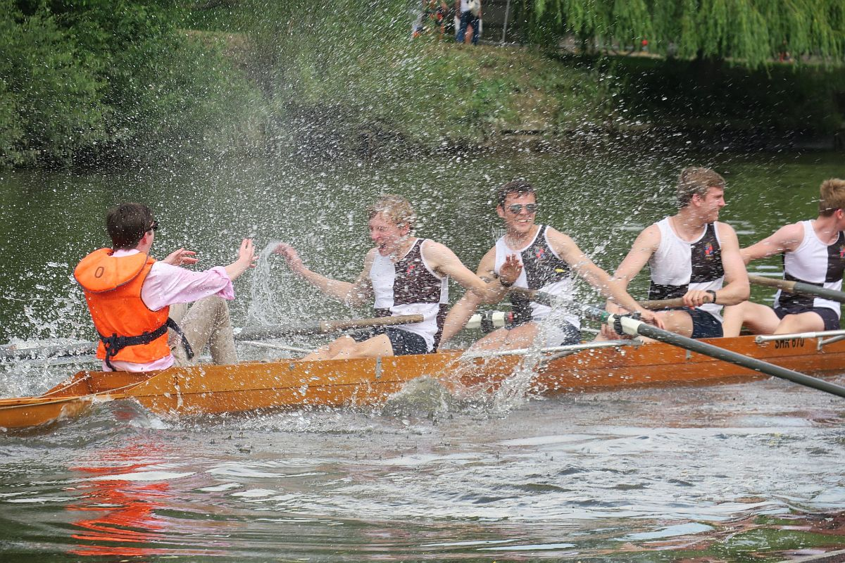Oldham's celebrating after remaining Head of the River for the second year running.  Cox Archie Duckworth (cox), Maarten Straube (stroke) , Ali Davies (3), Petr Rostokin (2), Angus Shepherd-Cross (bow) photographed by Dr Torsten Straube.