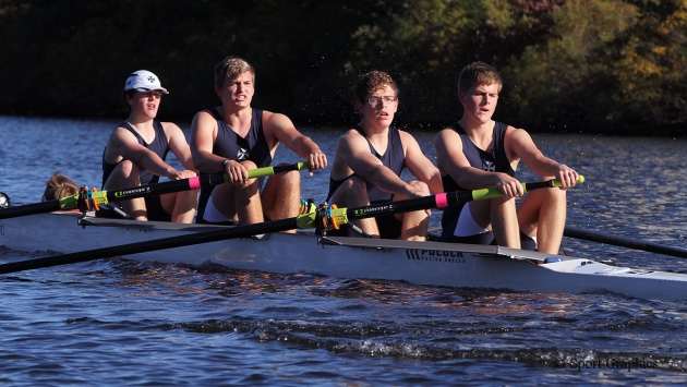 RSSBC Boys' Quad rowing at the Head of the Charles Regatta, USA, October 2013