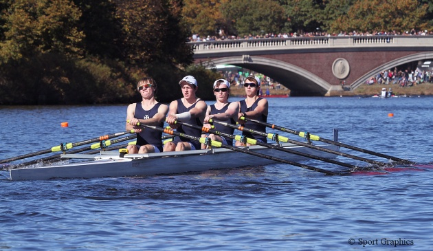 RSSBC Boys' four rowing at the Head of the Charles Regatta, USA, October 2013