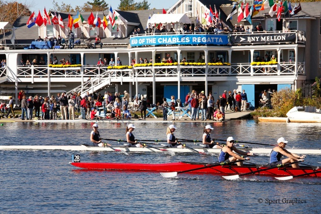 RSSBC Girls' Quad rowing at the Head of the Charles Regatta, USA, October 2013