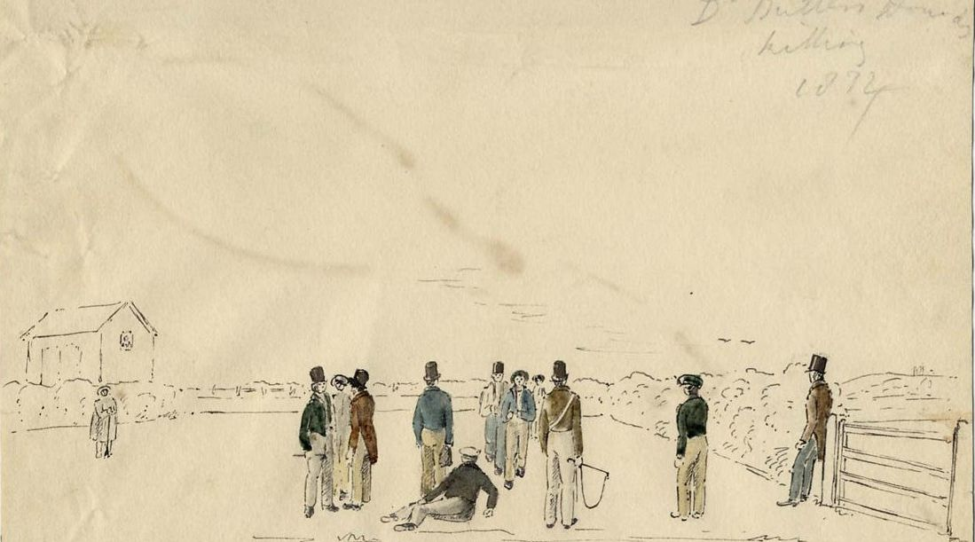 The earliest picture of cross-country at Shrewsbury School: a watercolour depicting the end of a Hunt race in 1834, by Sir Henry Dryden (OS and member of the Hunt)
