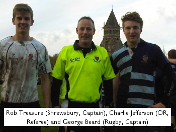 Rob Treasure (Shrewsbury, Captain), Charile Jefferson (OR, Referee) and George Beard (Rugby, Captain)